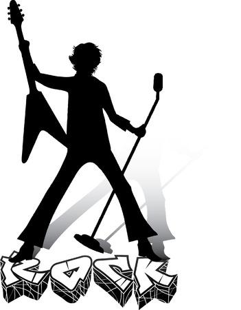 rock concert: Silhouette di musicista con la chitarra e microfono. Concerto rock.