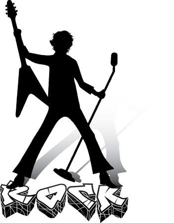 rock   roll: Silhouette of musician with guitar and microphone. Rock concert. Illustration