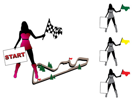 woman tablet: Pretty woman set with racing flag and tablet