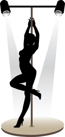 Night club striptease dancers vector illustration