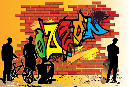 Teenagers  nearby of graffiti wall