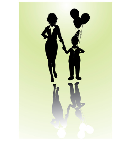 Girl and little boy with ballons  Stock Vector - 4271516