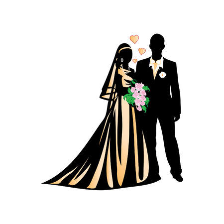 Wedding illustration, bride and groom Vector