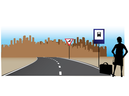 Woman on road expects bus for a trip to airport  Illustration