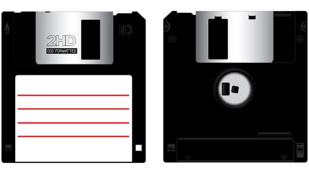 peripherals: Floppy disk front and back isolated on white background