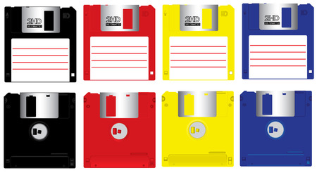 fdd: Complete set colorful floppy disk front and back isolated vector