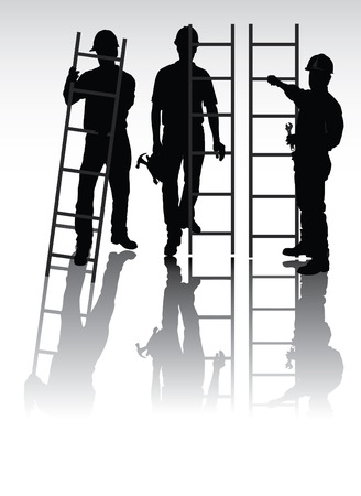 Isolated workers silhouettes with tools and ladders  Illustration