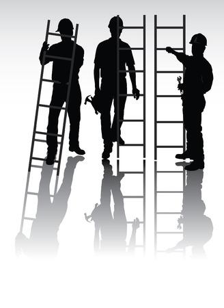 escaleras: Siluetas aisladas trabajadores con herramientas y escaleras
