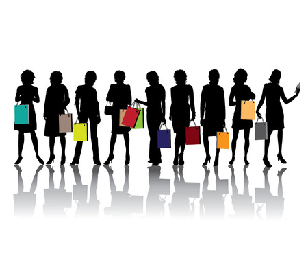 Woman shopping silhouettes , vector