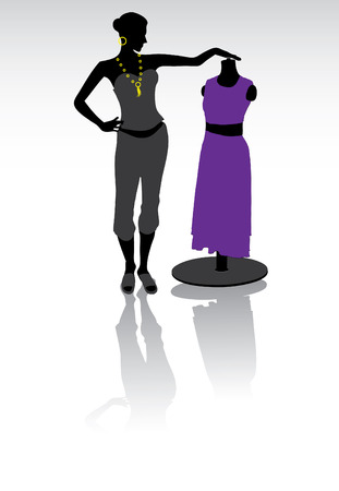 new look: Fashion designer look on new couture dress, vector Illustration
