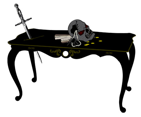 Pirate old skull on the table Vector