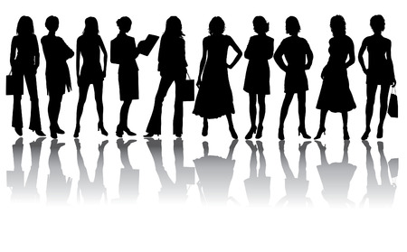 Woman vector silhouettes in different poses