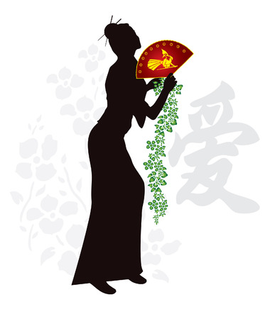 Beautiful japanese geisha with flower Vector