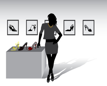 Pretty seller offering a shoes in shop  Vector