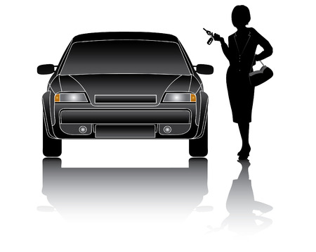 Business woman with new car