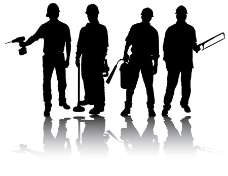 Isolated workers silhouettes with different tools