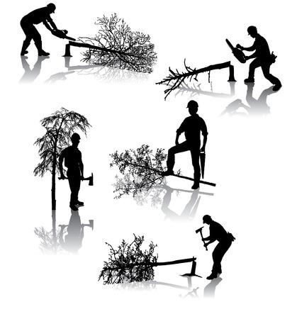 leñador: Aislado de los trabajadores forestales, con diferentes herramientas