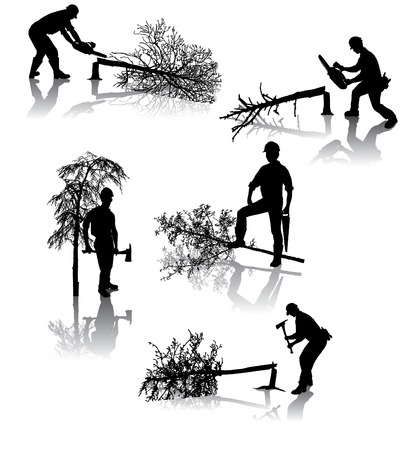 logging: Isolated forestry workers with different tools Illustration
