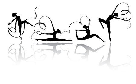 Gymnastic silhouettes in different poses Vector