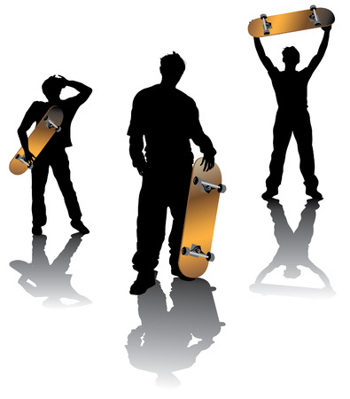 Teenagers group  holding skateboard in different poses Illustration