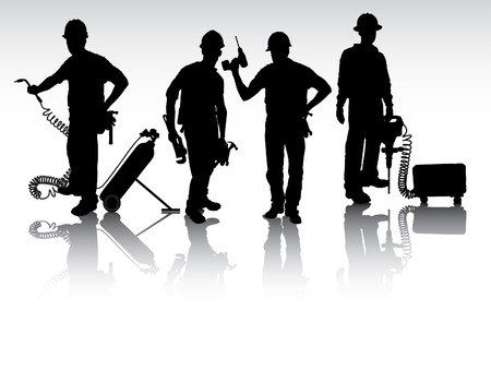 journeyman: Isolated workers silhouettes with different tools