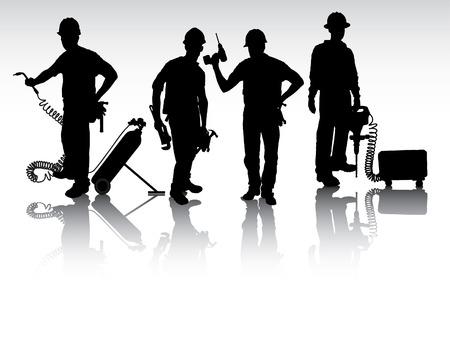 utilities: Trabajadores aislados siluetas con diferentes herramientas
