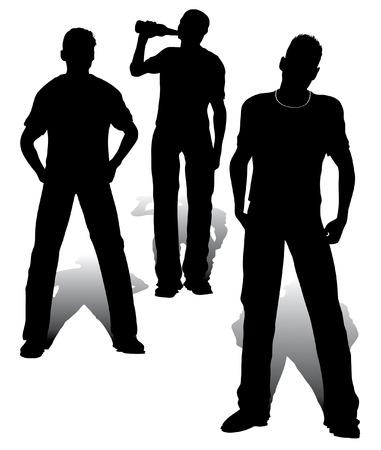 hooligan: Aggressive Jugendliche Gruppe Vektor Arbeit
