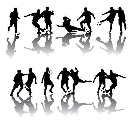 jugadores de soccer: Jugadores de f�tbol en diferentes poses Vectores