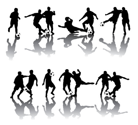 Soccer players in different poses