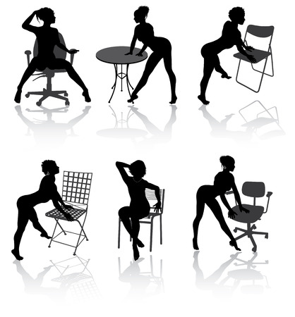 Sexy girls with armchairs in different poses Illustration