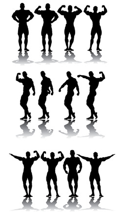 strongest: Strongest athletes in different poses vector silhouettes
