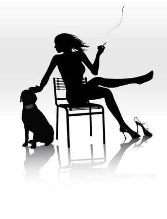 women smoking: Hermosa mujer sentada en la silla con el perro y el tabaquismo Vectores