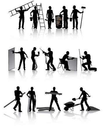 建設: さまざまなツールと分離建設労働者シルエット  イラスト・ベクター素材