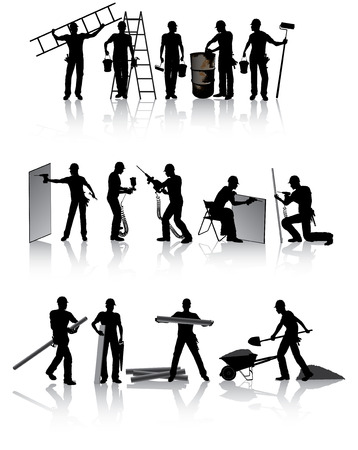 Isolated construction workers silhouettes with different tools Vector