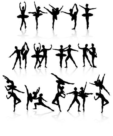 Geïsoleerde ballet dansers in verschillende houdingen