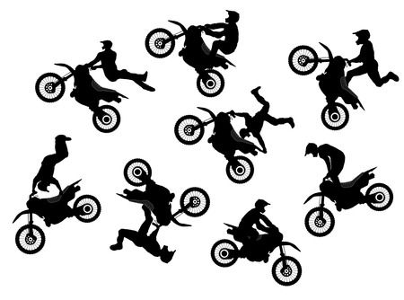 adrenalina: Aislados motocross salto jinete conjunto de vectores