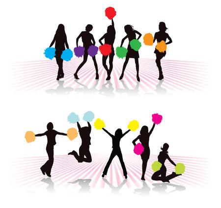 porrista: Cheerleader grupo de ni�as con pompones de colores