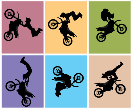 dirt: Motocross rider jump - vector