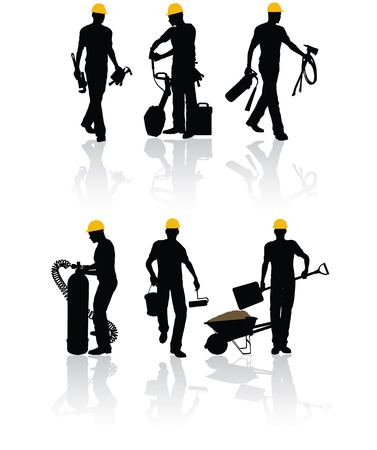 High quality vector construction workers with different tools