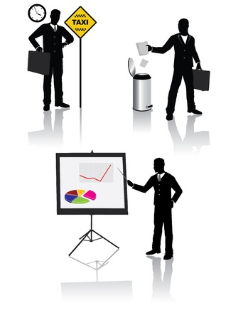 High quality business people silhouettes in different situations Stock Vector - 5266982
