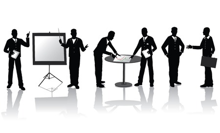 show case: High quality business people silhouettes in different situations