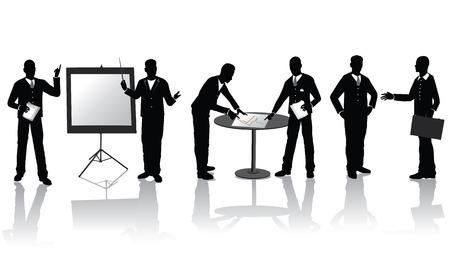 business discussion: Personas de negocios de alta calidad siluetas en diferentes situaciones Vectores