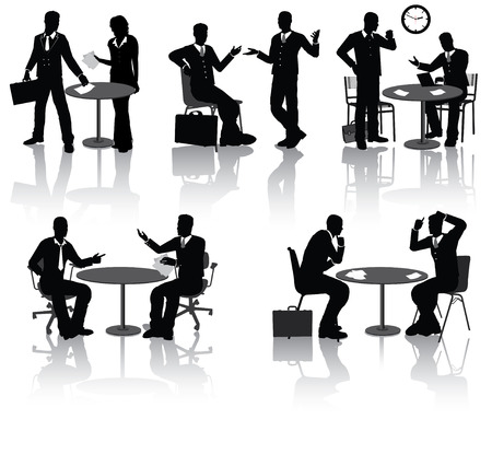 business discussion: Gente de negocios de alta calidad siluetas en diferentes situaciones Vectores