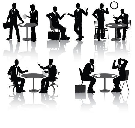 dolgozó: Kiváló minőségű üzletemberek sziluettek a különböző helyzetekben