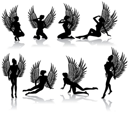 Dark fallen angel in different poses Illustration