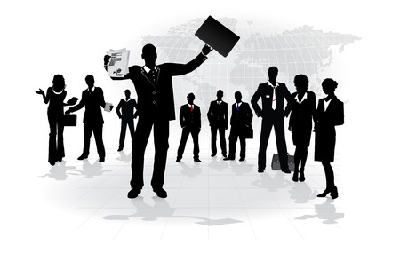 Leadership, crowd of business people - conceptual vector