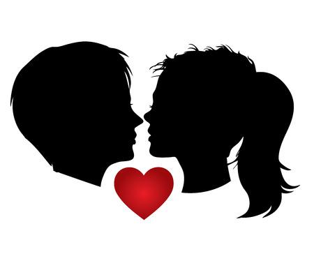 Vector portrait, romantic couple kisses Vector