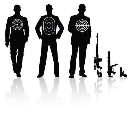 Businessman with different target sniper rifle