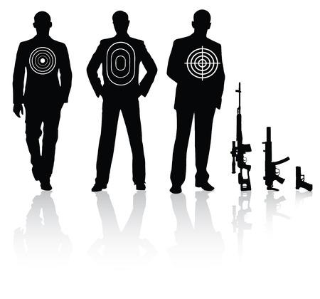 pistolas: Hombre de negocios con diferentes objetivos rifle de francotirador