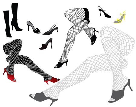 Woman's legs in sexy stockings with shoes Stock Vector - 5374597
